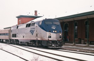 A train on Amtrak's Wolverine Line stops at a station in Jackson.