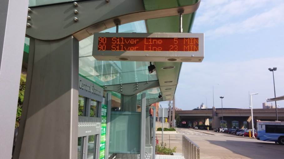 The new Silver Line stations all share similar features, including real time updates, maps, covered seating, and level platforms for boarding.