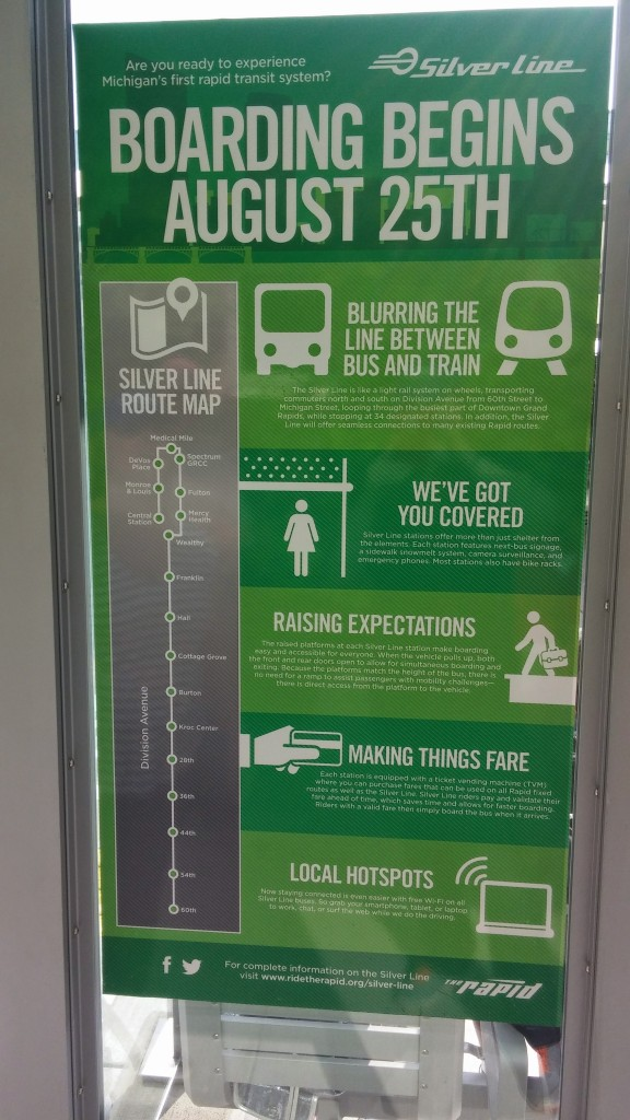 Signs at each stop help new riders understand their routes, how to purchase tickets and other benefits of the bus rapid transit system.
