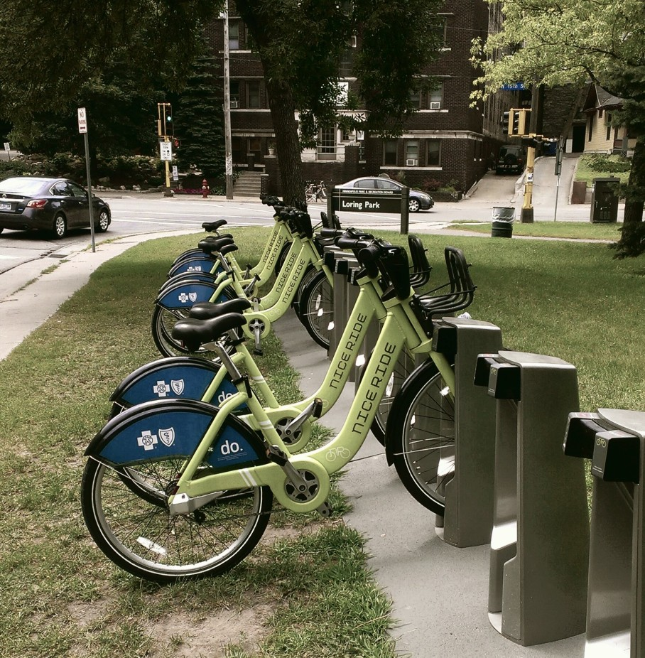 Bike share station in Minneapolis Minnesota.