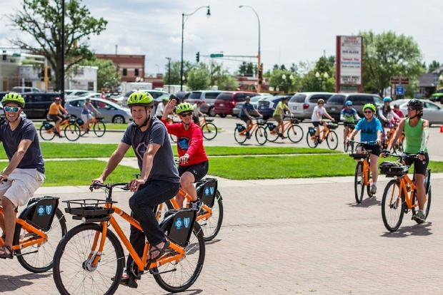 Biking is a leisurely way to enjoy the lakeside Minnesota community of  Bemidji. Photo used with permission from NiceRide Minnesota.