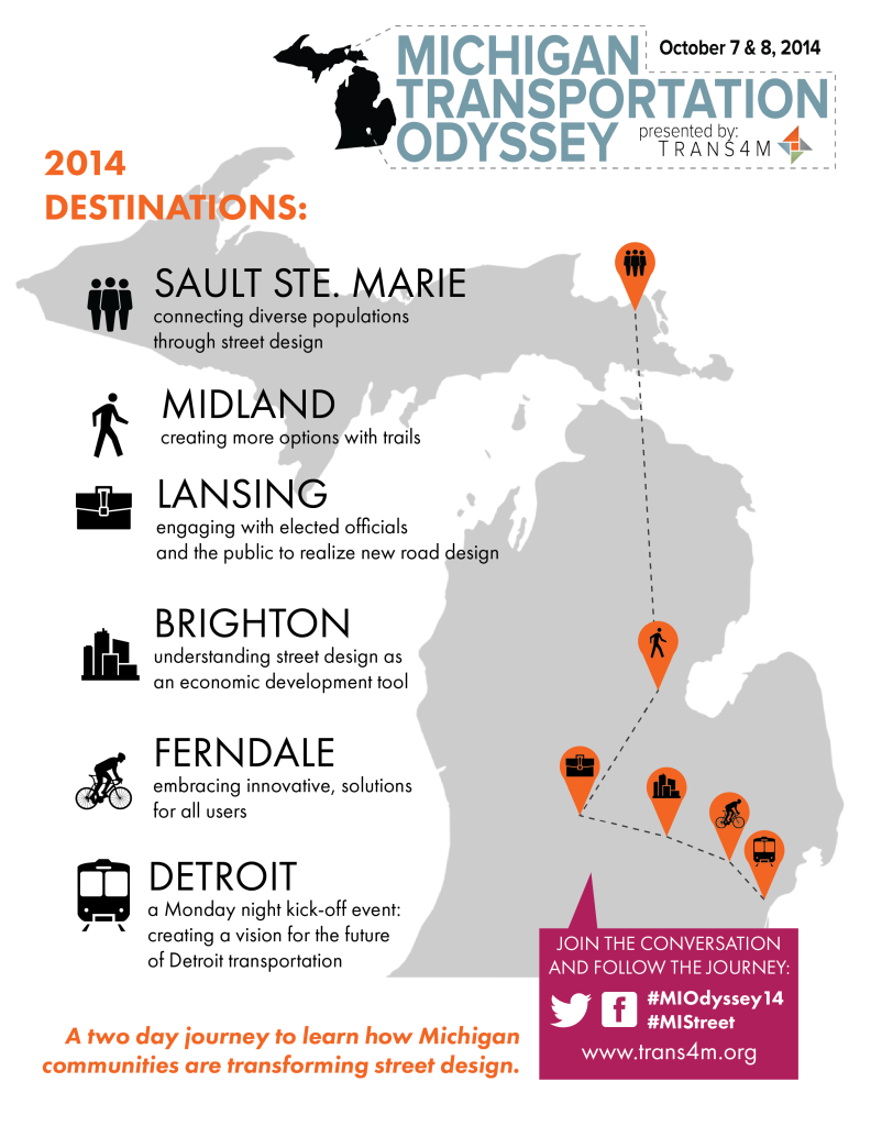 Odyssey 2014 Maps will be displayed on ours bikes during the Slow Roll in Detroit.