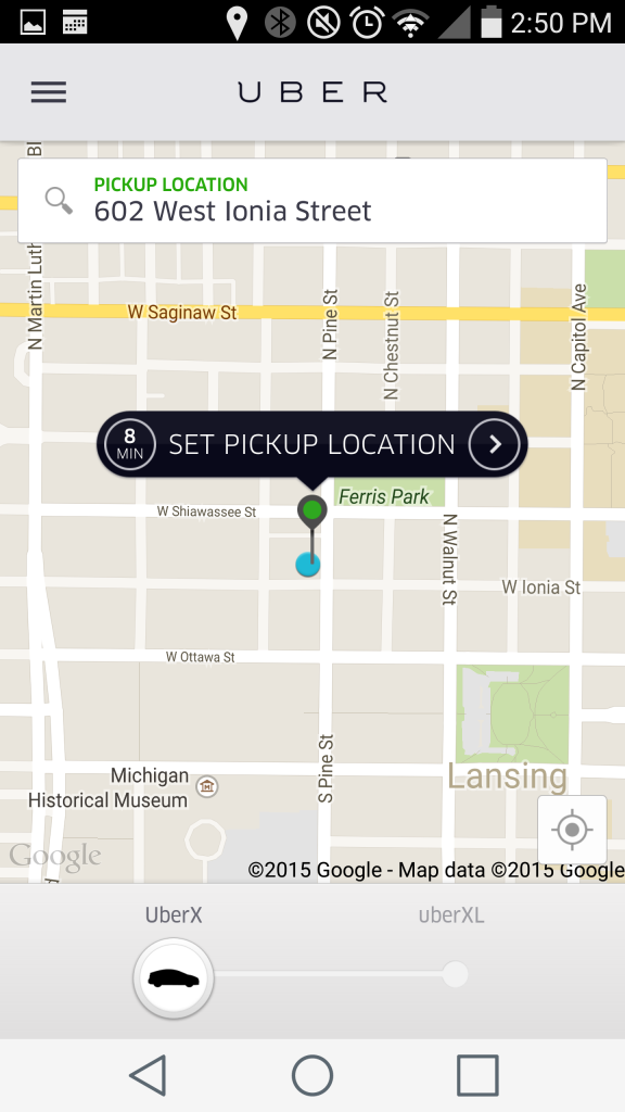A screenshot of the Uber app at work.