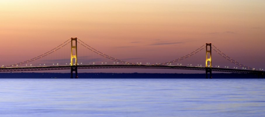The Mackinac Bridge at sunset.