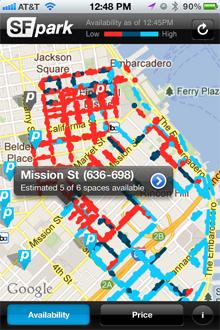 San Francisco's SFPark App Shows Availability of Parking Spaces