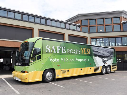 The Safe Roads Yes bus campaigns across Michigan in advance of the May 5 vote.