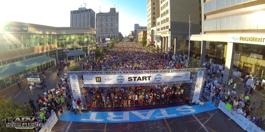The starting line for the 2013 HealthPlus Crim Festival of Races.