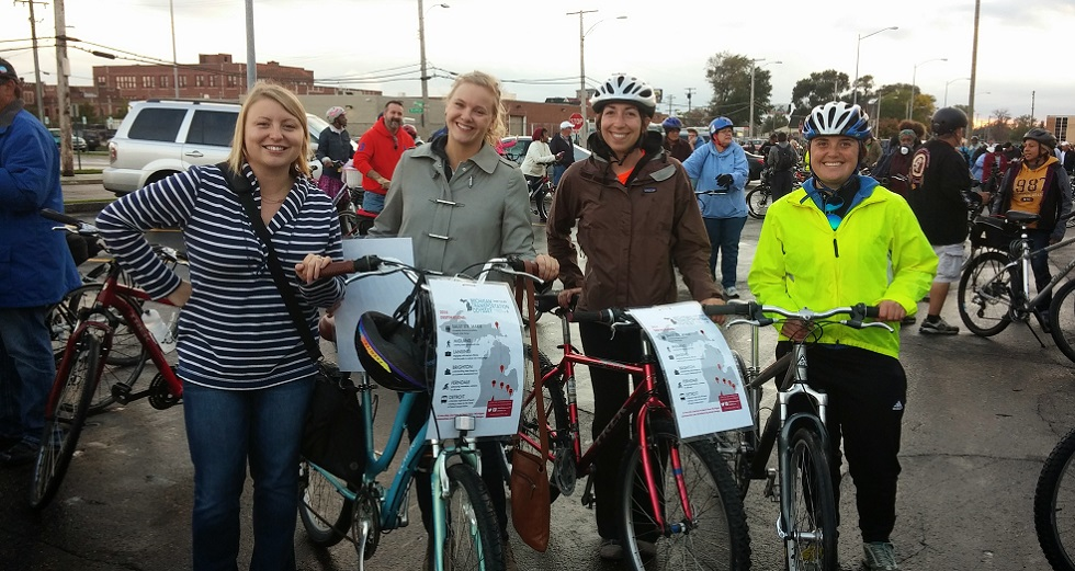 Trans4Mers participate in the Detroit Slow Roll before kicking off the 2014 Transportation Odyssey.